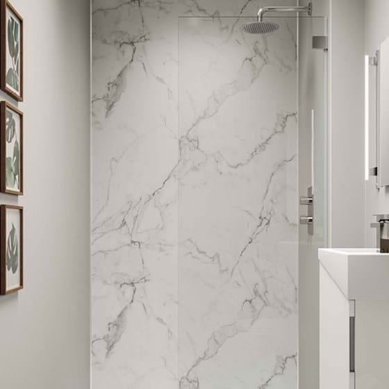 Dove Grey Bathroom wall panels Neutrals Collection paired with Calacatta Marble from the Linda Barker Collection in a shower room