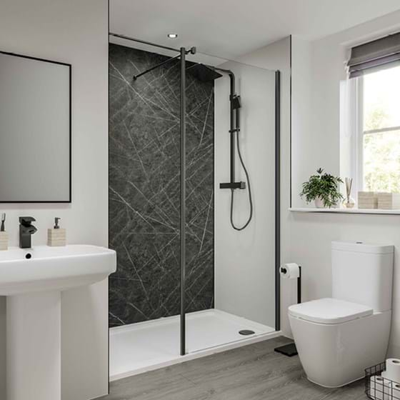 Dove Grey Bathroom wall panels Neutrals Collection paired with Nero grafite from the Linda Barker Collection in a family bathroom
