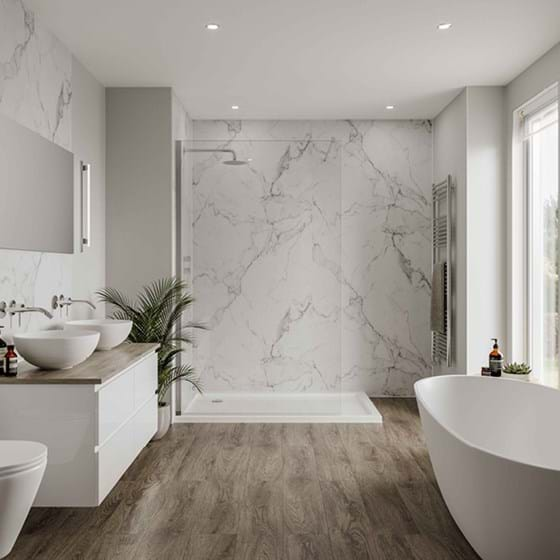 Dove Grey Bathroom wall panels Neutrals Collection paired with Calacatta Marble from the Linda Barker Collection in a large bathroom