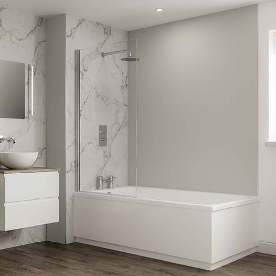 Dove Grey Bathroom wall panels Neutrals Collection paired with Calacatta Marble from the Linda Barker Collection in a family bathroom