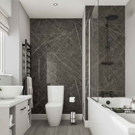 Dove Grey Bathroom wall panels Neutrals Collection paired with Ferro Graphite from the Linda Barker Collection in a family bathroom